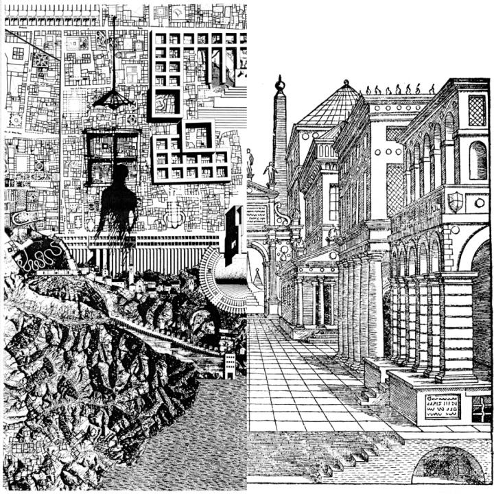 "Aldo Rossi ""città analoga"" \ Luigi Serlio perspective - collage"