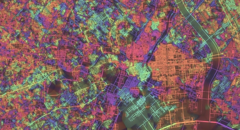 Rainbow-colored Tokyo map
