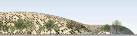 image © swatch group_elevation rendering of the sinuous timber frame of the swatch headquarters