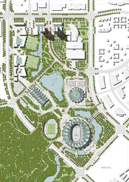 Universiad sports center shenzhen gmp architekten masterplan archiscapes for Sports complex planning design