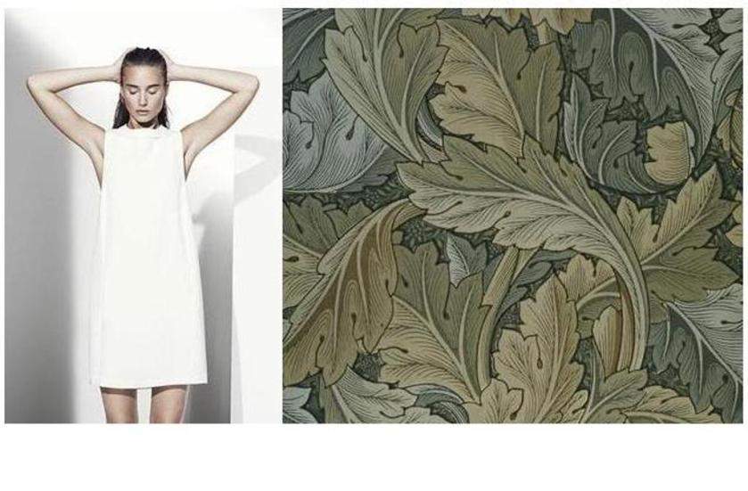 White dress vs. Wallpaper by William Morris (Arts & Crafts movement)